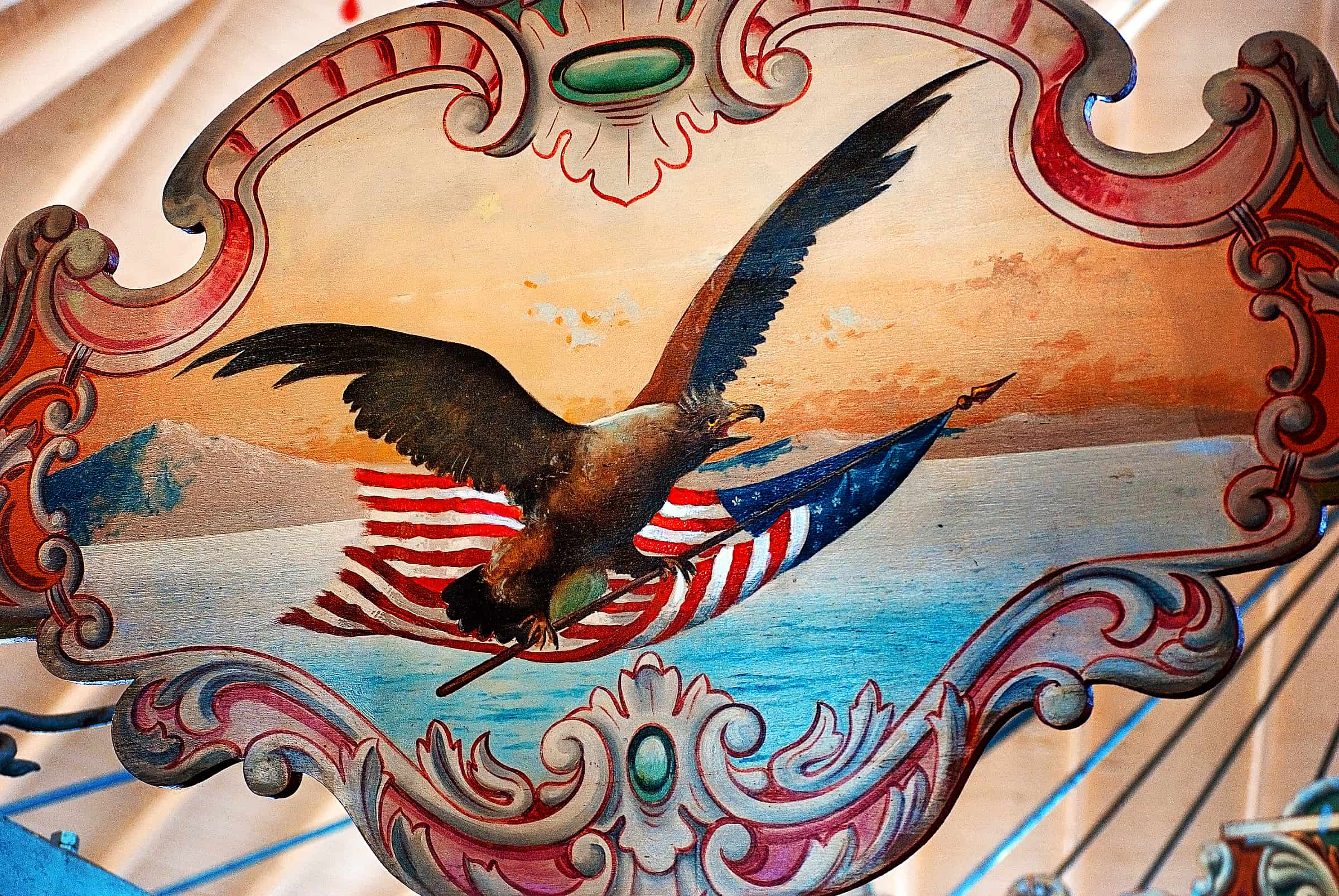 Detail of eagle on the Dentzel Carousel in Meridian, Mississippi