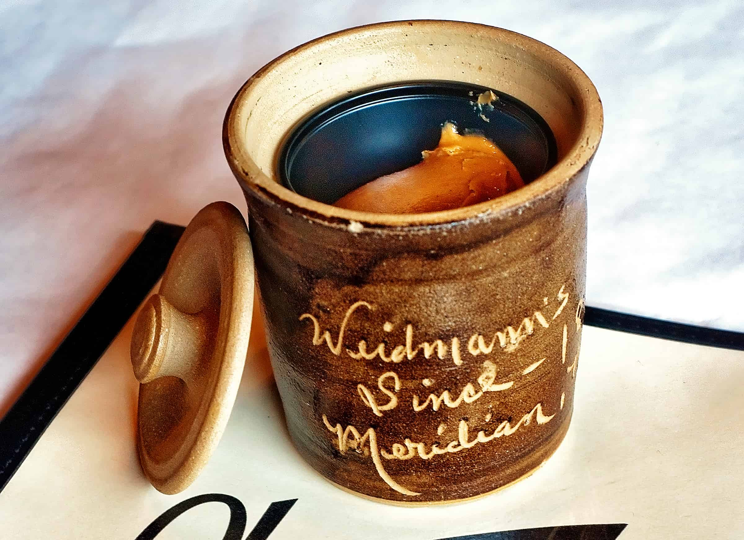 Peanut butter crock at Weidmann's restaurant in Meridian, Mississippi