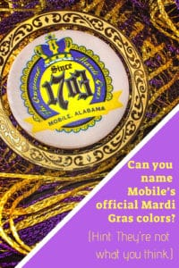 Can you name Mobile's official Mardi Gras colors?