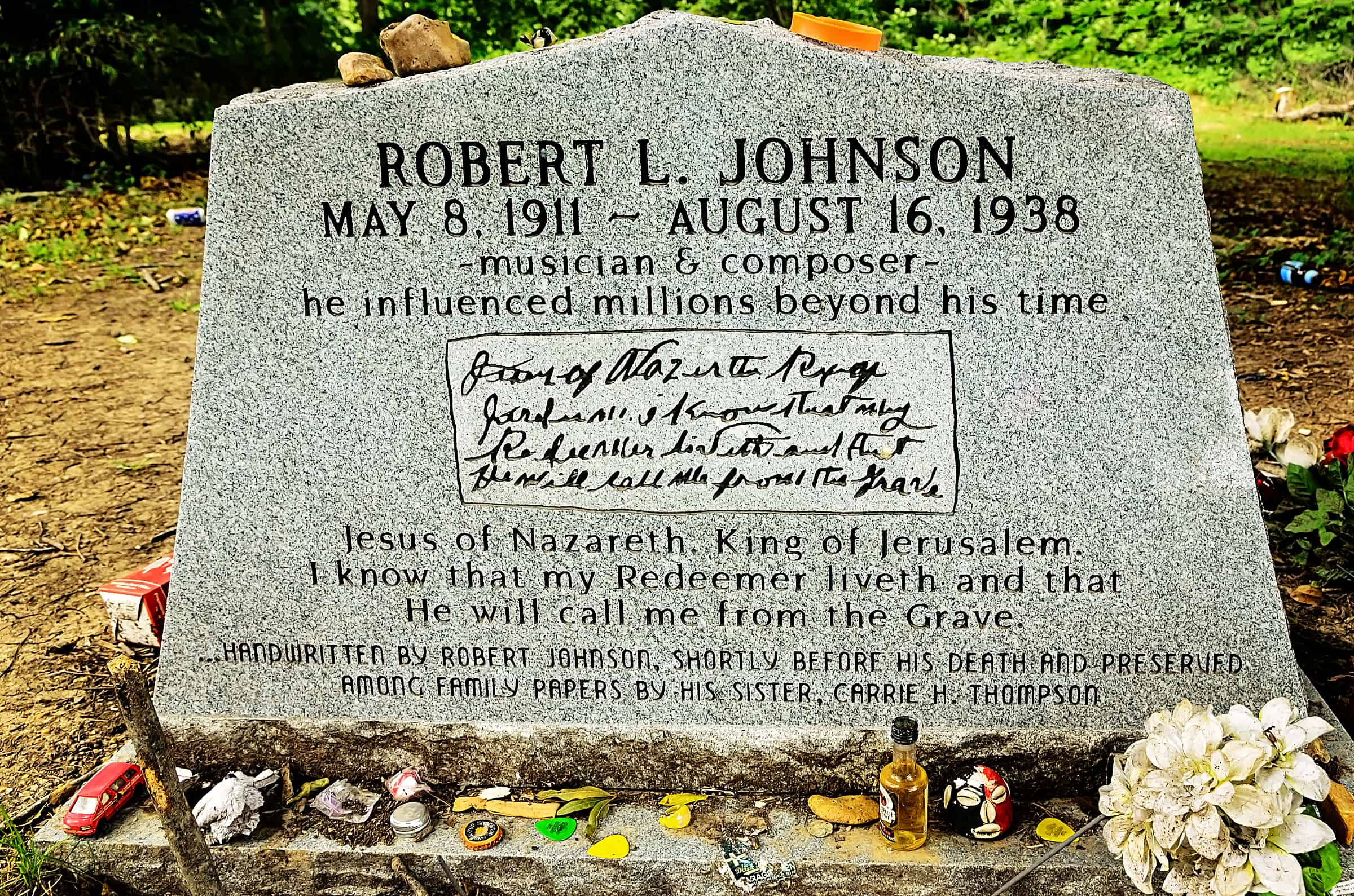 Bluesman Robert Johnson's grave in Greenwood, Mississippi