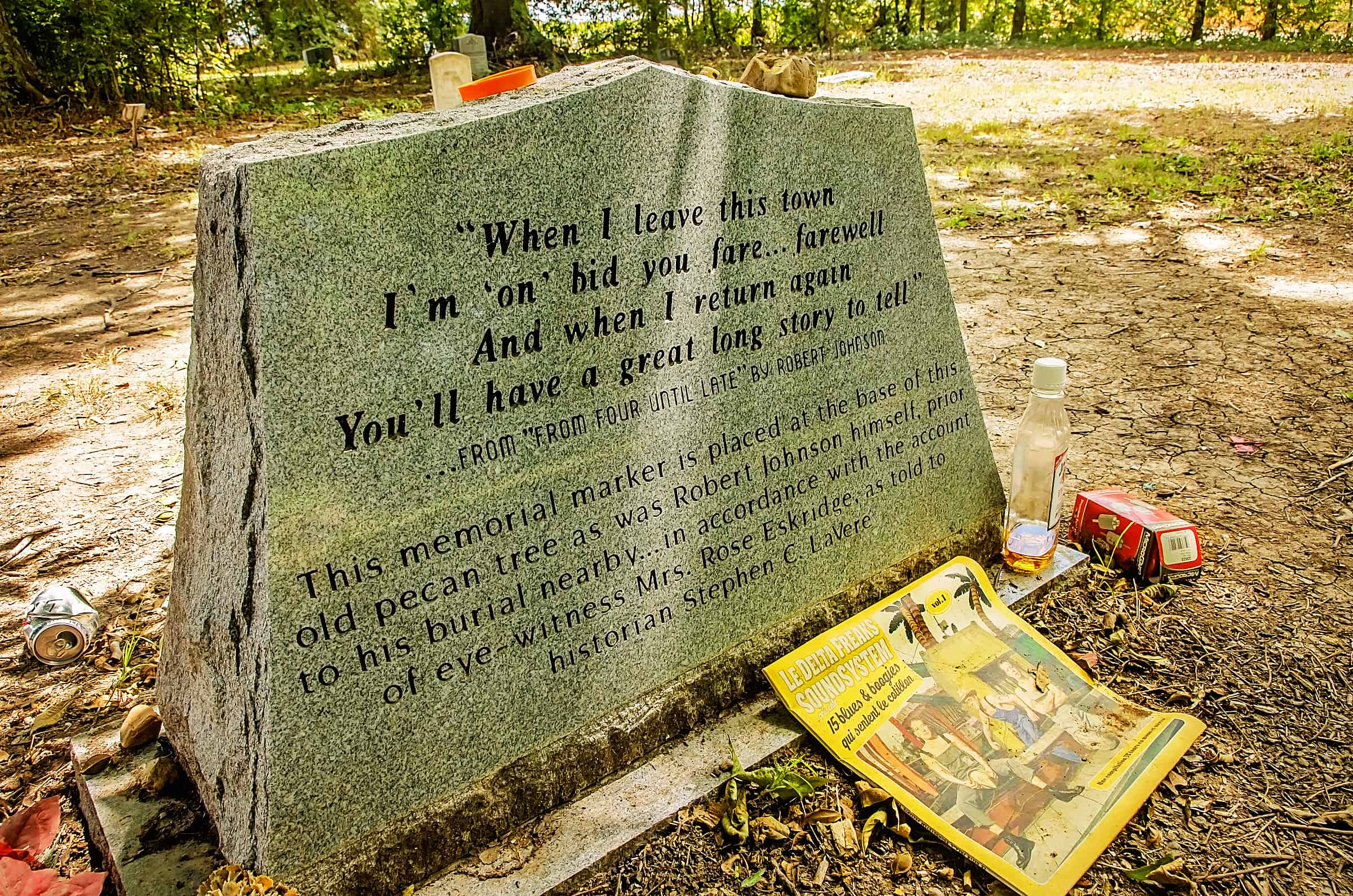 Back side of bluesman Robert Johnson's grave in Greenwood, Mississippi