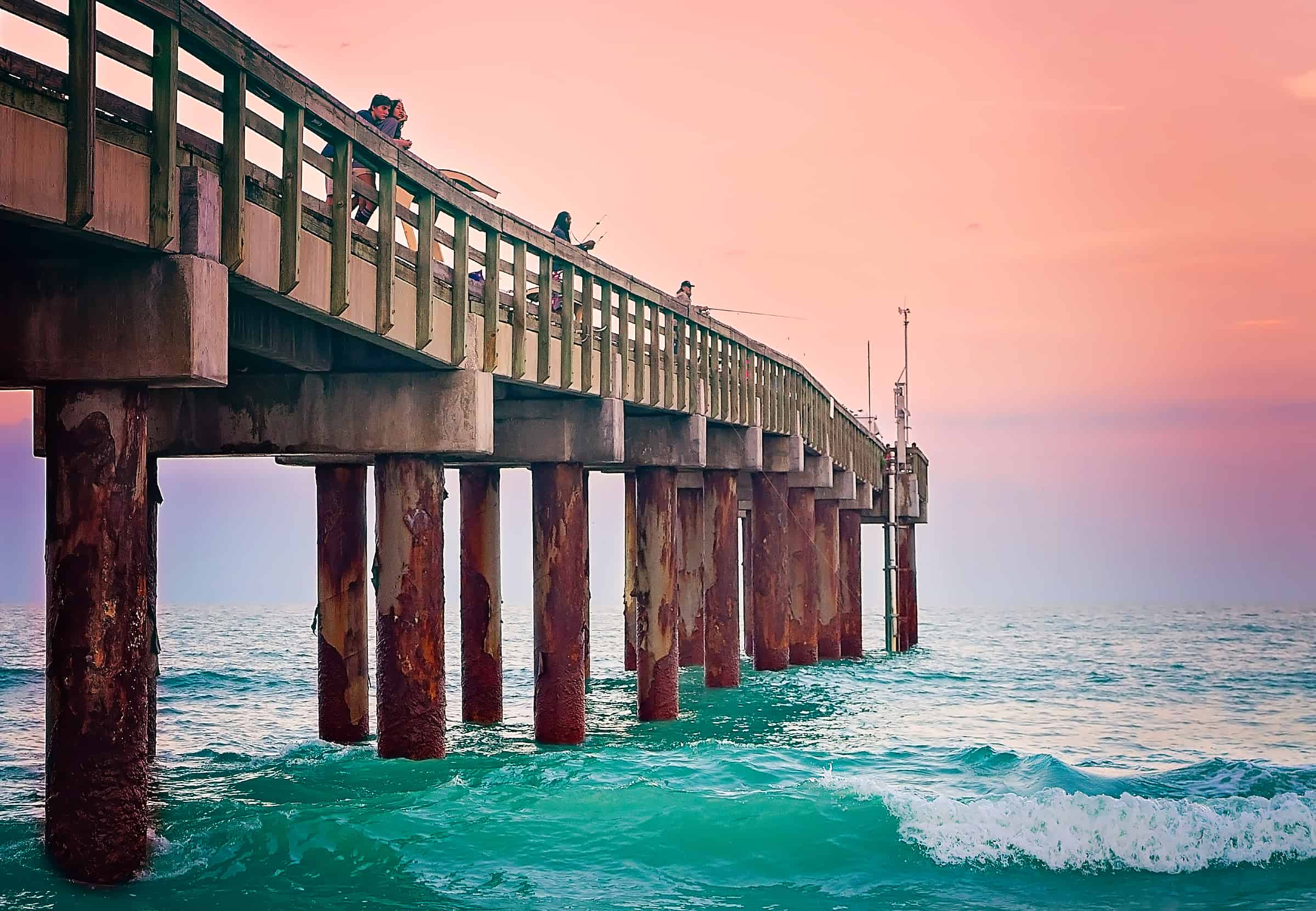 Fishing at St. Johns County Ocean Pier in St. Augustine, Florida