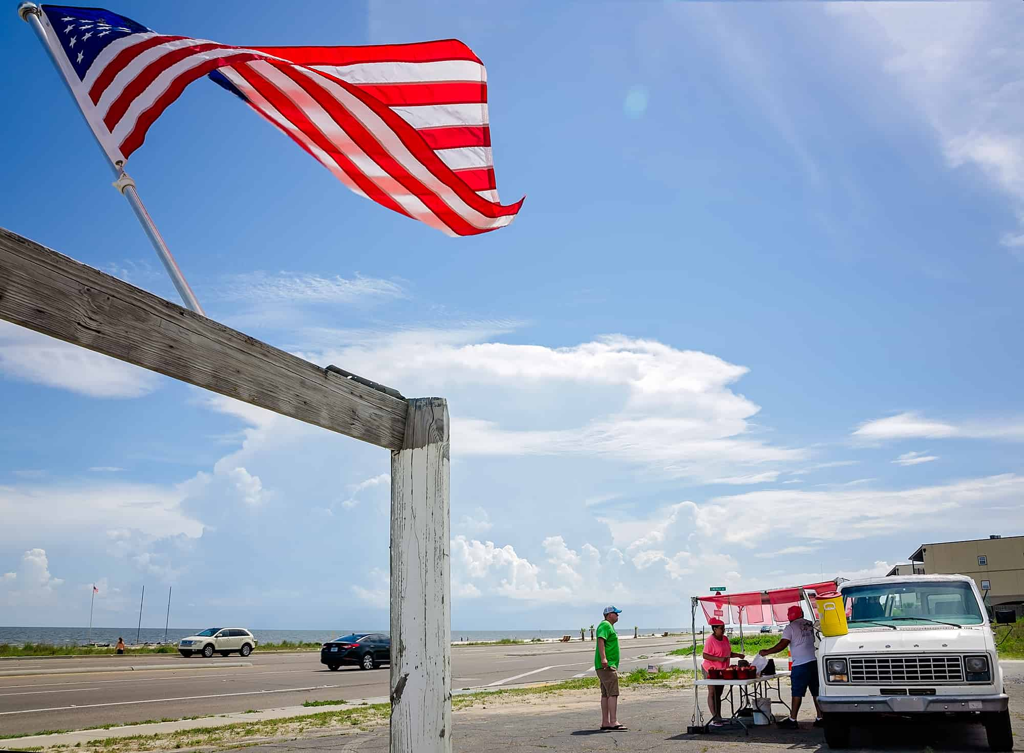 American flag flies at fruit stand in Pass Christian Mississippi
