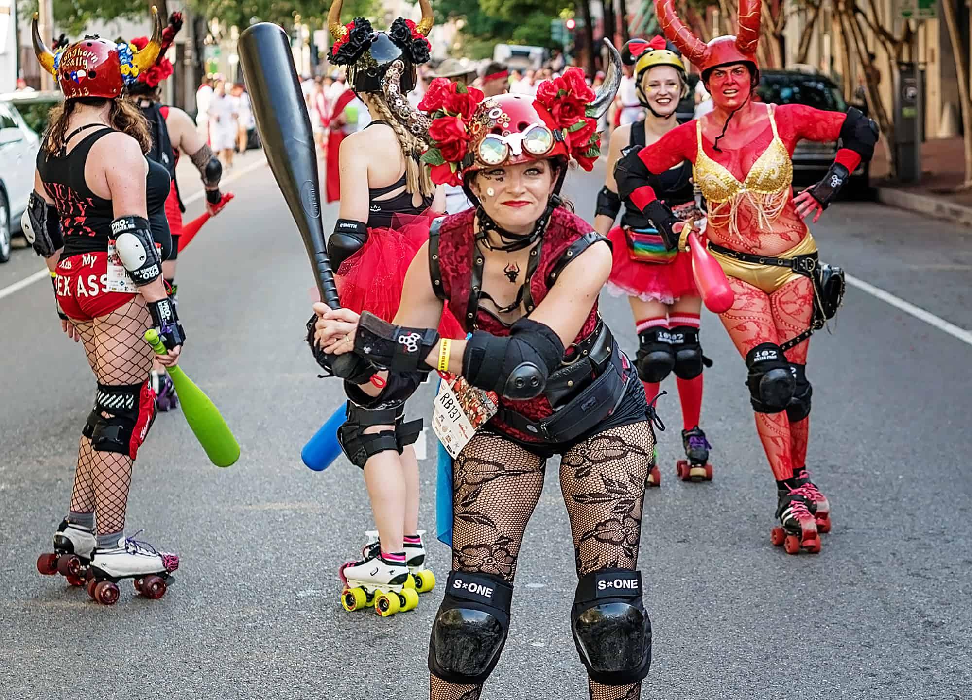 Roller derby girl at San Fermin in Nueva Orleans