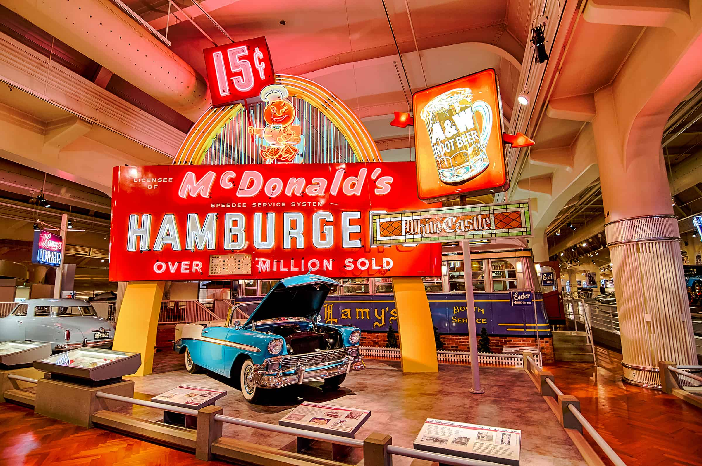 Henry Ford museum and McDonald's Hamburger sign