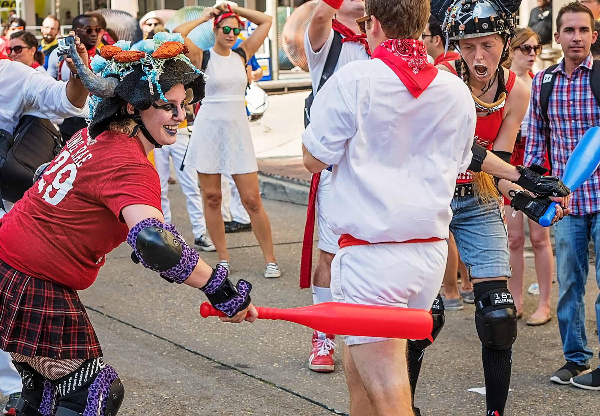 Roller derby girls during San Fermin de Nueva Orleans