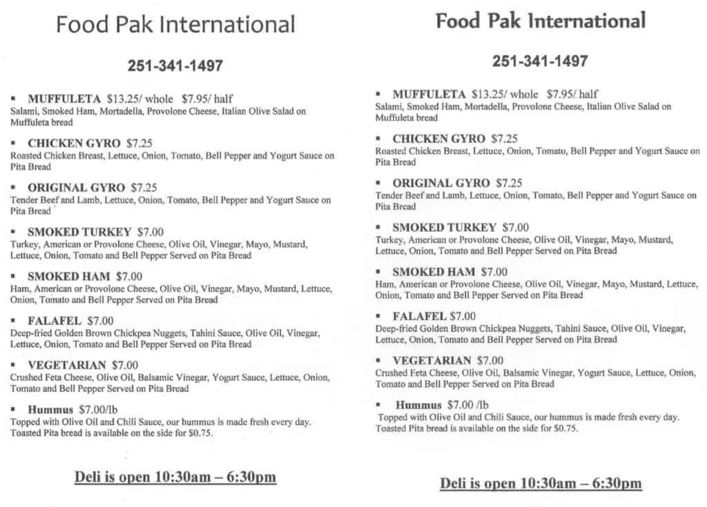 Food Pak menu