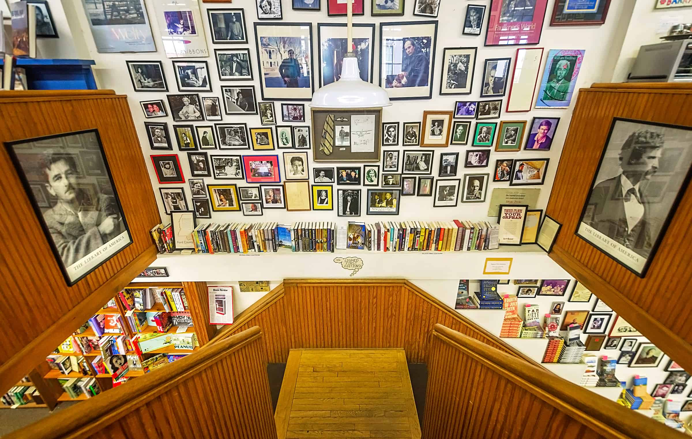Photographs of authors and author signings fill the walls at Square Books in Oxford Mississippi