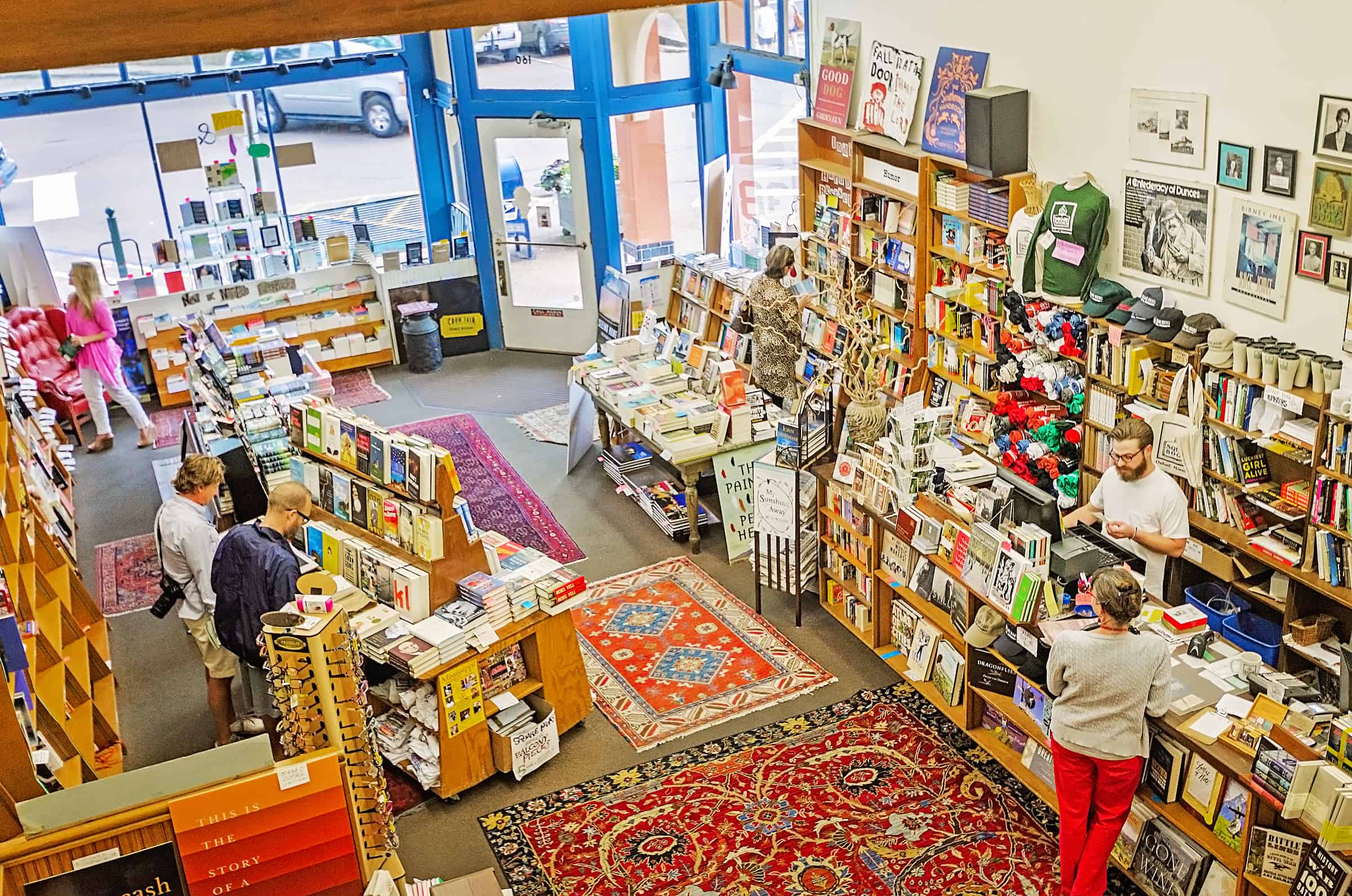 Customers browse the book selections at Square Books bookstore in Oxford Mississippi