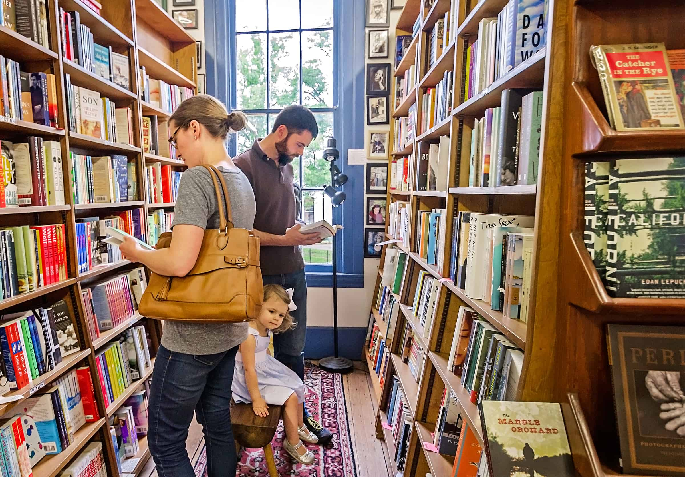 Family shops for books at Square Books bookstore in Oxford Mississippi