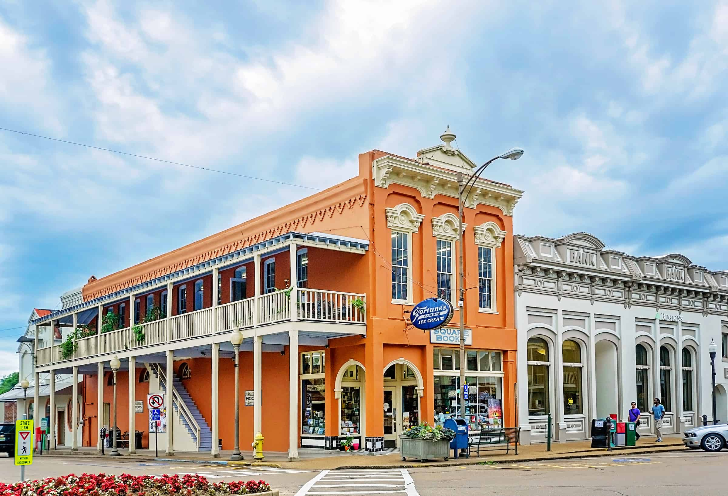 Cloudy skies gather above Square Books bookstore in Oxford Mississippi