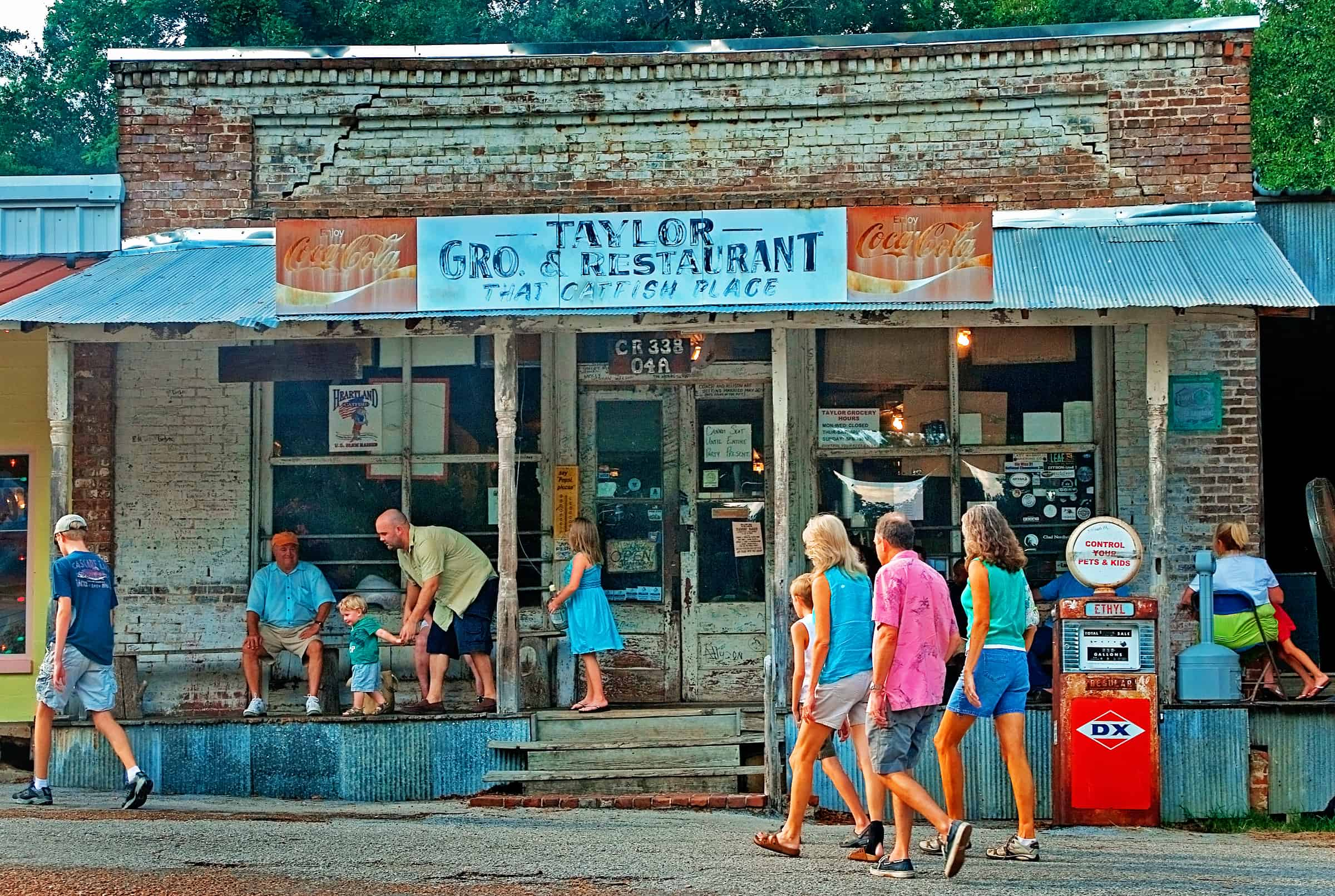 Customers wait for a table at Taylor Grocery in Taylor Mississippi